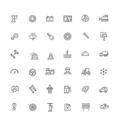 Auto repair service outline symbols vector