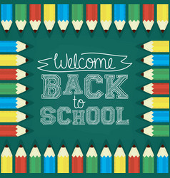Back to school card with pencils colors and vector
