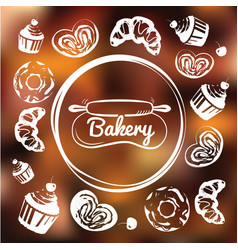 Bakery cafe identity concept chalkboard sweets as vector