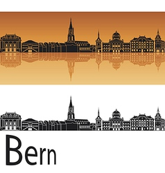 Bern skyline in orange background vector image vector image