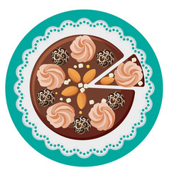 Birthday cake with cream flowers chocolate balls vector