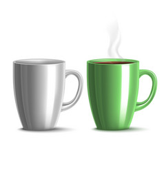 Blank mug mockup and green mug with tea in vector