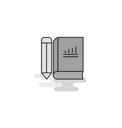 book and pencil web icon flat line filled gray vector image