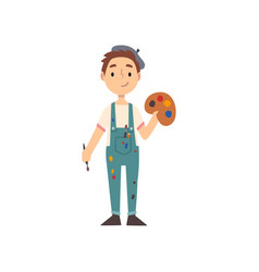 Boy artist character with palette and paintbrush vector