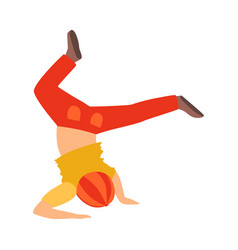 Boy doing headstand dancing breakdance performing vector