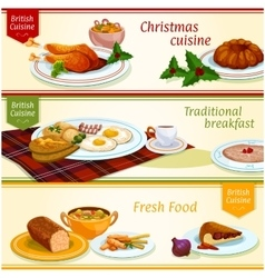 British cuisine traditional dishes banner set vector image