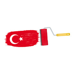 brush stroke with turkey national flag isolated on vector image