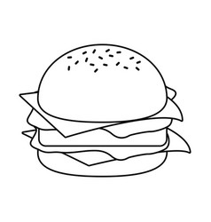 burger fast food thin line vector image
