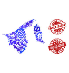 business contacts collage of mosaic map of brunei vector image