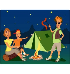 Campers at night vector