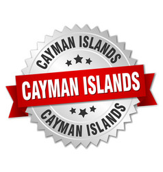 Cayman islands round silver badge with red ribbon vector