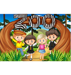 Children at the zoo entrance vector