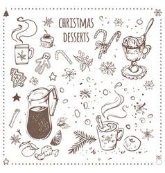 christmas food and desserts set hand drawn icons vector image