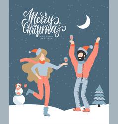 christmas greeting card - man and woman vector image