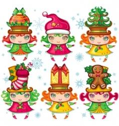 Christmas Santa helpers series vector image