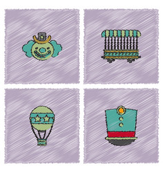 circus icons collection in hatching style vector image
