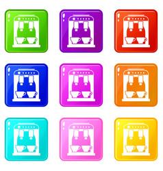 coffee machine icons 9 set vector image