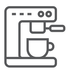 Coffee machine line icon kitchen and cooking vector
