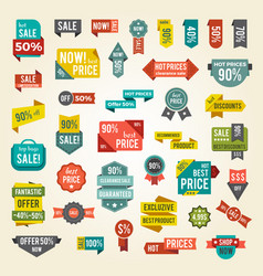 collection of colorful sale labels with text vector image