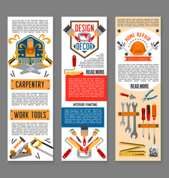 Construction tool for home repair banners vector