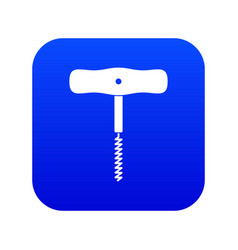corkscrew with a metal spiral icon digital blue vector image