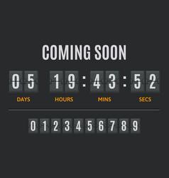 countdown flip timer flip clock days hours vector image