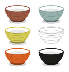 Cups or bowl of different cly types vector