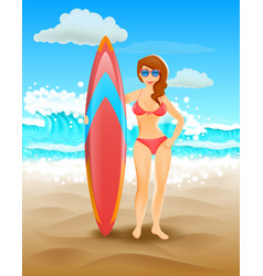 Cute girl holding a surfboard on a sunny beach vector