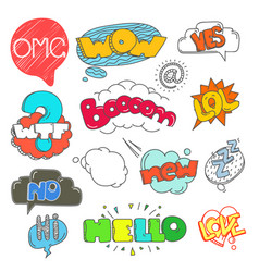different sketch style color doodle elements vector image