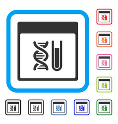 Dna analysis calendar page framed icon vector