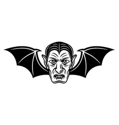 dracula head with bat wings vector image