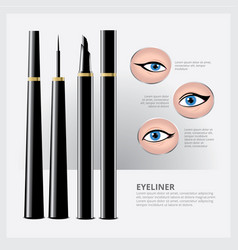 Eyeliner packaging with types of eye makeup vector