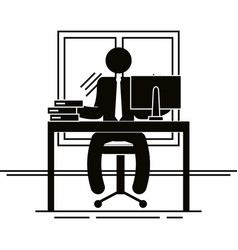figure businessman in the office avatar silhouette vector image
