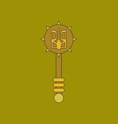 Flat icon thin lines ukrainian mace vector