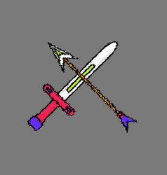Flat shading style icon sword and arrow vector