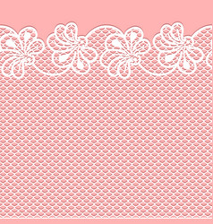 Flower lace border on pink background vector