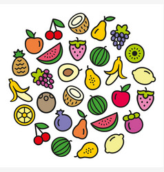Fruits icons in a circular shape vector