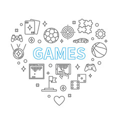 games heart concept in outline vector image