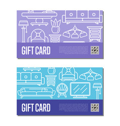 Gift voucher linear set for living room decoration vector