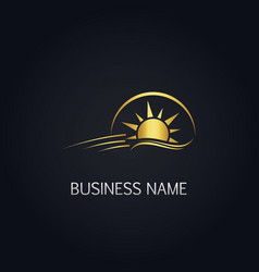 gold sun shine icon logo vector image