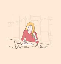 graphic designers digital artist occupation vector image
