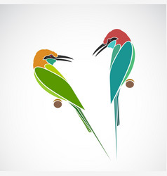 green bee eater and blue throated bee eater on vector image