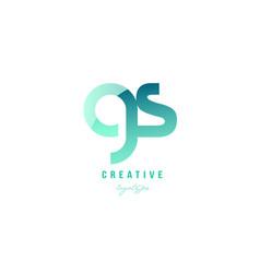 Green gradient pastel modern gs g s alphabet vector
