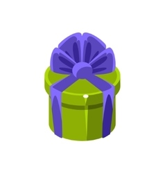 Green Round Gift Box With Present Decorative vector