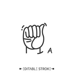 Hand gesture showing a letter line icon vector