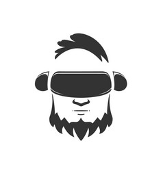 head of man in vr glasses on a white background vector image
