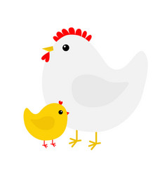 hen and chicken bird icon set mother and baby vector image