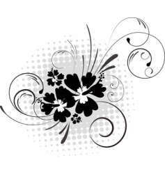 hibiscus with swirls vector image