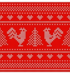 Holiday seamless pattern with cross stitch vector