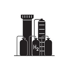 Hydrogen plant silhouette icon in flat style vector